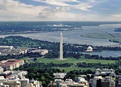 National Harbor: Aerial view towards National Harbor